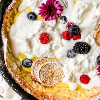 Lemony Dutch Baby Pancake with Lemon Curd