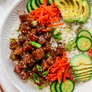 Marinated Tuna Bowls with Cauliflower Rice