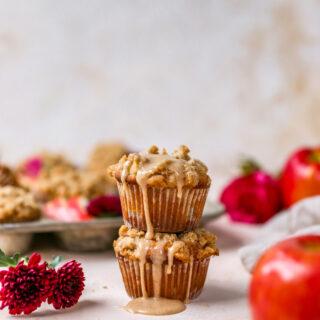 Apple Crumb Muffins with Cider Glaze