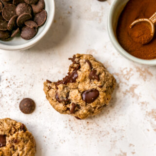 Spiced Oatmeal Cookies with Dark Chocolate & Flaxseed